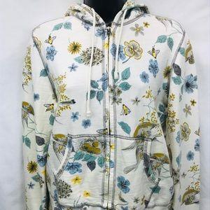 Lucky Brand Floral Zip Hoodie Jacket